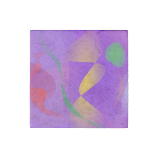 Purple Abstract Composition Stone Magnet