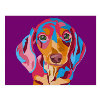 Purple Abstract Dachshund Postcard