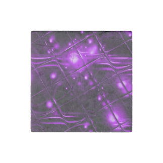 Purple Abstract Design Stone Magnet