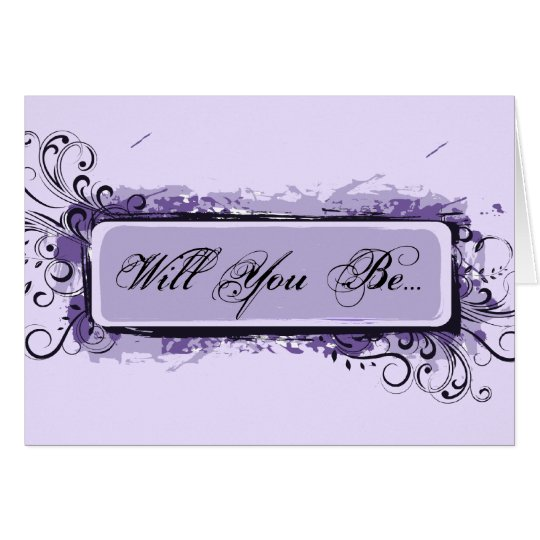 Purple Abstract Floral Be My Bridesmaid Card