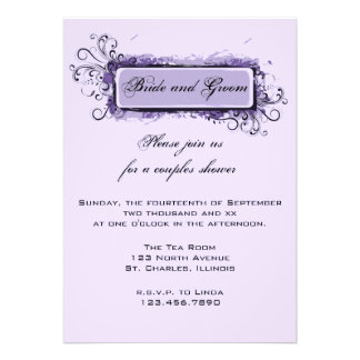 Purple Abstract Floral Couples Wedding Shower Invites