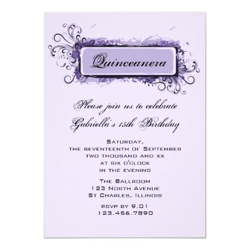 Purple Abstract Floral Quinceanera Invitation