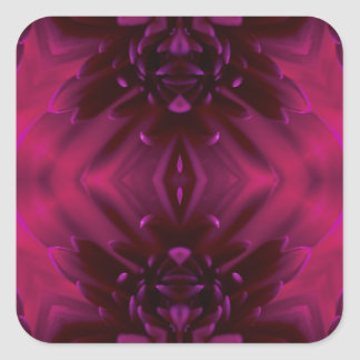 Purple Abstract Floral Square Sticker