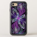 "Purple Abstract Floral Stained Glass La Chanteuse OtterBox Symmetry iPhone 8/7 Case<br><div class=""desc"">Phone case with &quot;La Chanteuse Violett, &quot; by Susan Wallace. Copyright &#169; 2014,  Susan Wallace.Abstract stained glass leaves in shades of bright purple,  silver,  periwinkle and violet frame a central flower of vibrant purple in this intricate fractal piece.</div>"