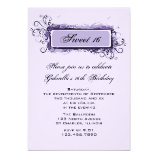 Purple Abstract Floral Sweet 16 Party Invitation