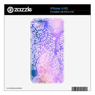 Purple Abstract Flower Power Design Decals For The iPhone 4S