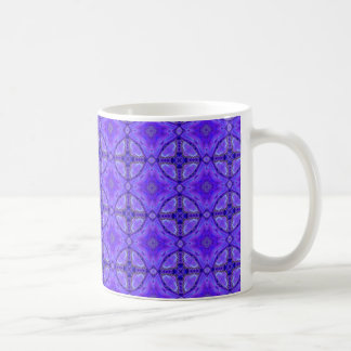 Purple Abstract Flowers, Lattice, Circle Quilt Coffee Mug