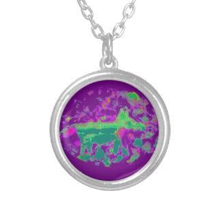 Purple Abstract Fox Art Round Pendant Necklace