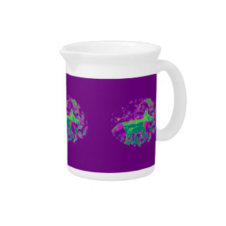 Purple Abstract Fox Drink Pitcher