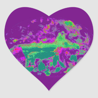 Purple Abstract Fox Heart Sticker