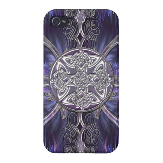 Purple Abstract Gothic i w/ Celtic Knots iPhone 4/4S Cover