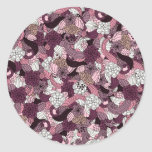 Purple abstract graphic design classic round sticker