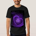 Purple Abstract Heart Basic Dark T Shirt