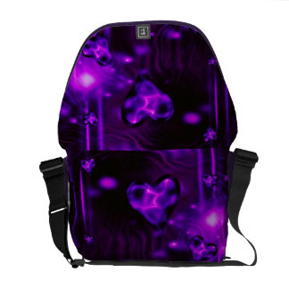 Purple Abstract Hearts Messenger Bag