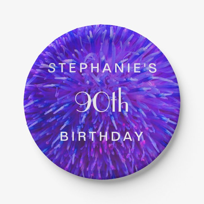 Purple Abstract Paper Plates, 90th Birthday Party