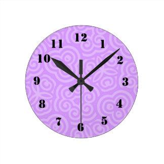 Purple Abstract Pattern Round Clock