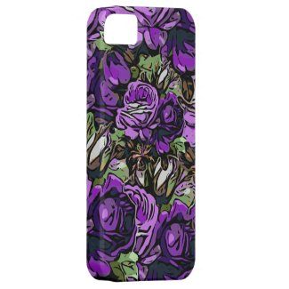 Purple Abstract Roses iPhone SE/5/5S Case