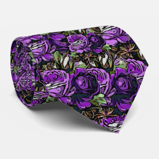 Purple Abstract Roses Neck Tie