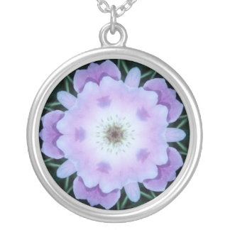Purple Abstract Round Pendant Necklace