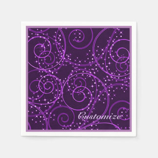 Purple Abstract Twinkling Stars Swirl Napkins