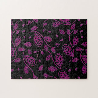 Purple Abstract Vine Pattern on Black Puzzle
