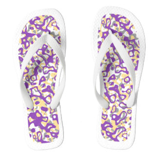 Purple Abstract White Trim Flip Flops