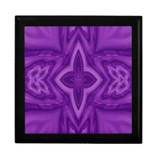 Purple abstract wood cross keepsake box
