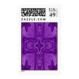 Purple abstract wood cross postage stamps