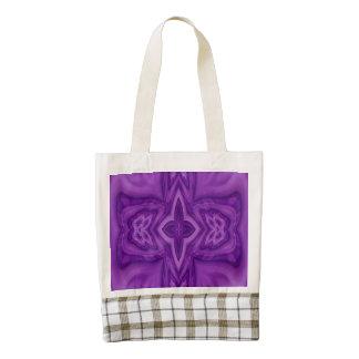 Purple abstract wood cross zazzle HEART tote bag