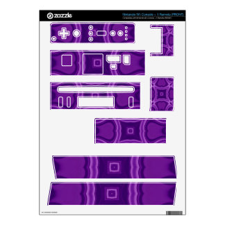 Purple abstract wood pattern decals for wii