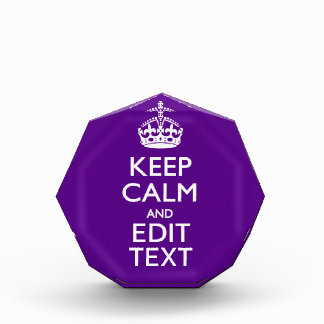 Purple Accent Keep Calm And Your Text Easily Award