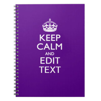 Purple Accent Keep Calm And Your Text Easily Spiral Notebook