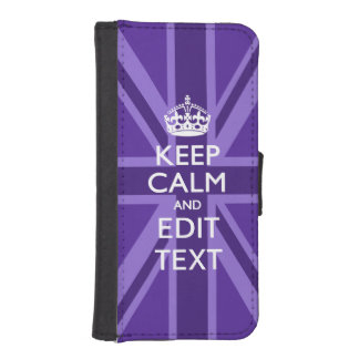 Purple Accent Keep Calm And Your Text Union Jack Wallet Phone Case For iPhone SE/5/5s