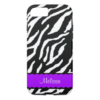 Purple Accent With White And Black Tiger iPhone 7 Case