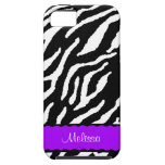 Purple Accent With White And Black Tiger Print iPhone 5 Cover