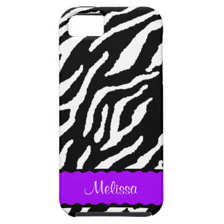 Purple Accent With White And Black Tiger Print iPhone SE/5/5s Case