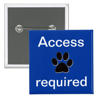 Purple access required pawprint- mobility dog blue pinback button