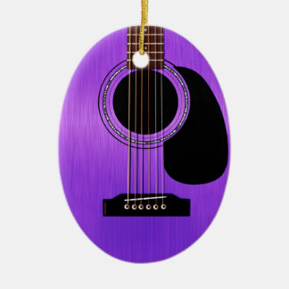 Purple Acoustic Guitar Double-Sided Oval Ceramic Christmas Ornament