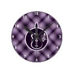Purple Acoustic Guitar Round Clock