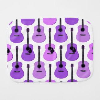 Purple Acoustic Guitars Pattern Burp Cloth
