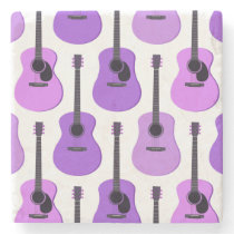 Purple Acoustic Guitars Pattern Stone Coaster