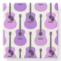 Purple Acoustic Guitars Pattern Stone Coaster
