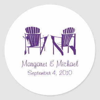 Purple Adirondack Chairs Wedding Classic Round Sticker