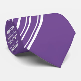 Purple Affair and White Diagonal Stripes 2 Sided Tie