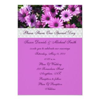 "Purple African Daisies Flower Wedding Invitation 5"" X 7"" Invitation Card"