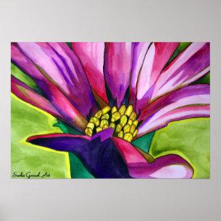 Purple African daisy flower watercolor art Poster