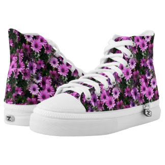 Purple African Daisy Flowers Nature Pattern Printed Shoes