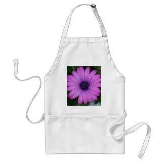 Purple African Daisy with Raindrops Adult Apron