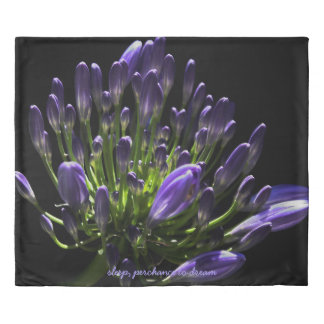 Purple Agapanthus in Sunlight, African Lily Duvet Cover