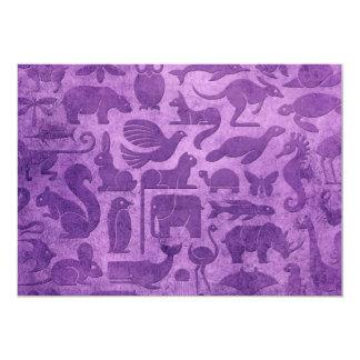 Purple Aged and Worn Animal Kingdom Pattern Card